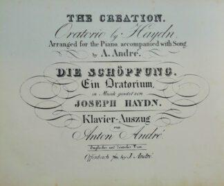 Die Schöpfung. Ein Oratorium – Klavierauszug von Anton André [engl./dt.].