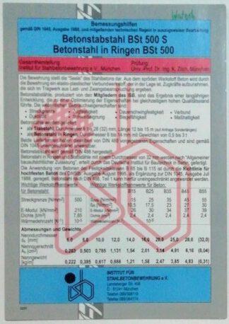 Bemessungshilfen Betonstabstahl BSt 500 S – Betonstahl in Ringen BSt 500.