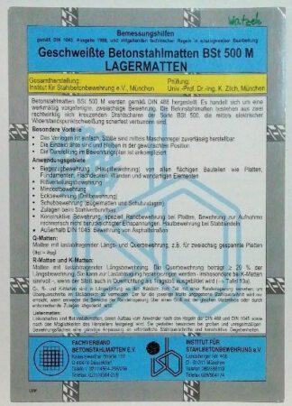 Bemessungshilfen Geschweißte Betonstahlmatten BSt 500 M – Lagermatten.