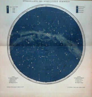 Sternkarte des nördlichen Himmels mit Bezeichnung der Sternbilder – Lithographie 1895.