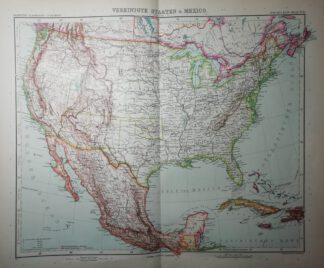 Kupferstich Vereinigte Staaten und Mexico – 1:12 500 000 – 1905