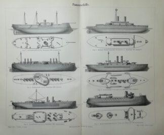 Panzerschiffe – Holzstich 1890