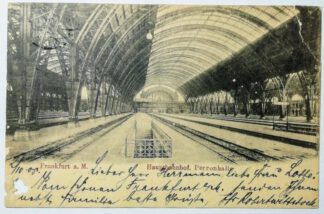 Ansichtskarte Frankfurt a. M. – Hauptbahnhof, Perronhalle [gelaufen].